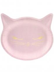 6 Söta rosa katt-tallrikar 22x20 cm