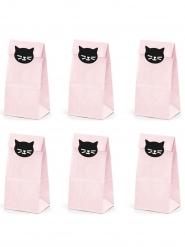 6 Rosa presentpåsar med svarta katter 8x18x6 cm