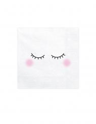 20 vita servetter med blundande ögon 33x33 cm