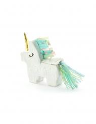 Mini-piñata vit enhörning 8x2,5 cm