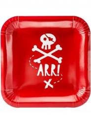 6 Fyrkantiga röda pirattallrikar för kalaset!