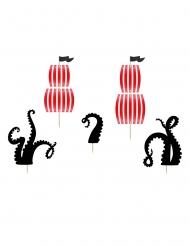 5 Tårtdekorationer med sjörövarmotiv 13,5-21,5 cm