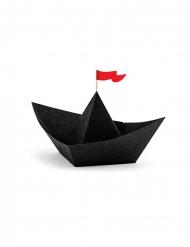 6 Svarta origami-piratskepp 19x10x14 cm