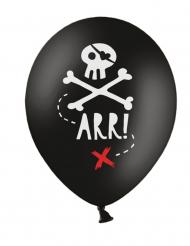 6 Svarta piratballonger av latex 30 cm