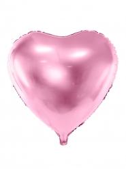 Hjärtformad rosaglansig aluminiumballong 45 cm
