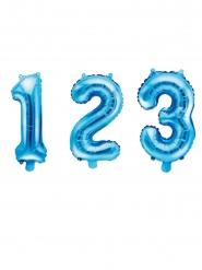 Siffra blå aluminiumballong 35 cm