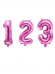 Siffra glansigt rosa aluminiumballong 35 cm