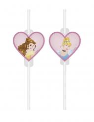 4 Disney Princesses™ sugrör med märken
