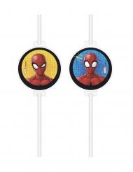 4 Spiderman™-sugrör med pappmedaljonger