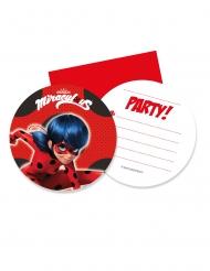 6 Miraculous Ladybug™ runda inbjudningskort med kuvert