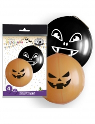 4 Orange-svarta latexballonger Halloween 47 cm