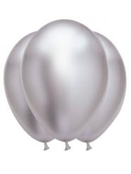 6 silvriga latexballonger 31x39