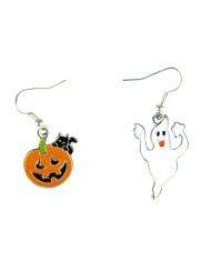 Halloweenörhängen pumpa och spöke