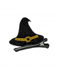 Hårklämma med svart häxhatt