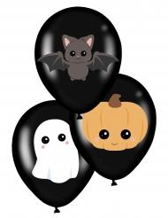 6 Svarta söta Halloweenballonger 28 cm