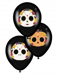 6 Svarta latexballonger Dia de los Muertos 28 cm