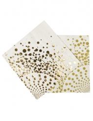 16 lyxiga servetter med guldmönster 33x33 cm