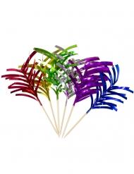 10 cocktailpinnar med färgglada glansiga remmar 10 cm