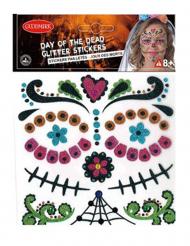 Dia de los Muertos klistermärken med glitter