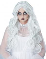 Lång vit spökperuk dam
