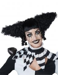 Galen svart clownperuk dam