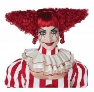 Röd galen clownperuk dam