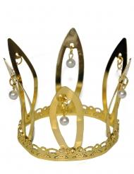 Guldig drottningkrona med pärlor