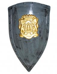 Grå sköld med guldmotiv 75x45 cm