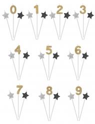 3 Födelsedagsljus i silver, svart och guld 16 cm