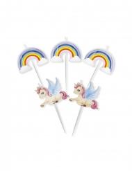 5 ljus med enhörningar och regnbågar 8 cm