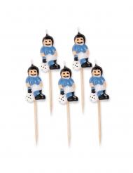 5 Tårtljus med ljusblå fotbollsspelare 8 cm