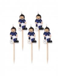5 tårtljus med blå fotbollsspelare