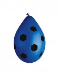 10 blå latexballonger med fotbollsmönster 30 cm