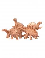 5 Dekorativa guldfärgade dinosaurier 6x1,5 cm