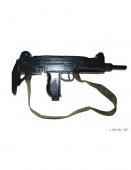 Realistisk uzi-pistol med fejkmetall och rem 48 cm
