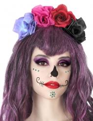 Dia de los Muertos diadem med färgglada blommor