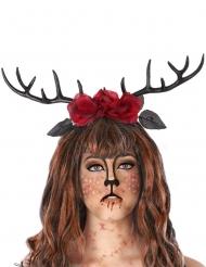 Diadem med hjorthorn och rosor vuxen