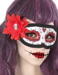 Dia de los Muertos vit mask med blomma vuxen