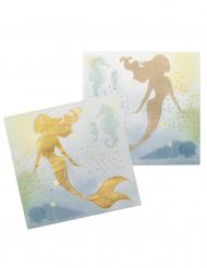 12 Pappersservetter sjöjungfrur från lagunen 33x33 cm