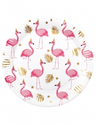 6 Papptallrikar med tropiska flamingofåglar 23 cm
