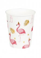 6 Pappmuggar tropiska flamingofåglar 25 cl