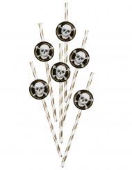 6 piratsugrör jolly roger 24 cm