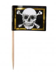 24 Tandpetare med dödskalleflagga 7 cm