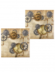 12 Steampunk pappersservetter 33x33 cm