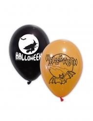 10 Orangesvarta Halloweenballonger 30 cm