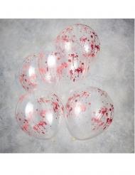 5 Genomskinliga latexballonger med blodstänk 30 cm