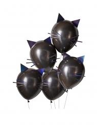 5 Svarta kattformade latexballonger 30 cm