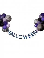 Halloweengirland med svarta och lila ballonger