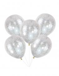 5 Ballonger med silvrigt mönster 30 cm