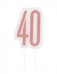 Rosaglittrigt tårtljus 40 år 7 cm